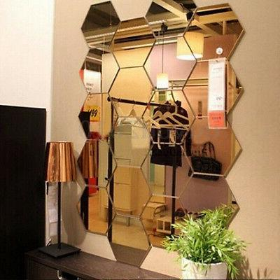 12pcs 3d mirror hexagon vinyl removable wall