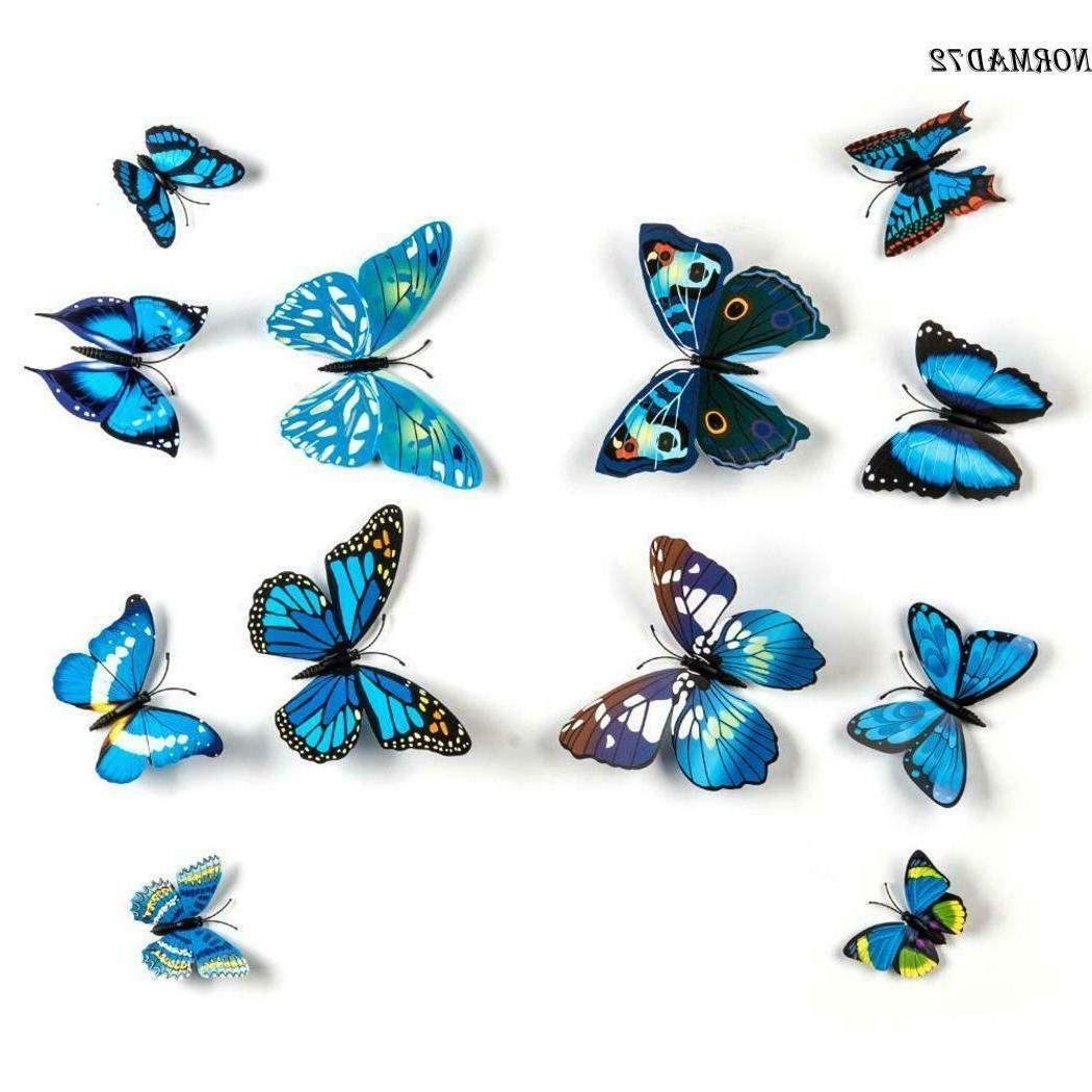 12pcs DIY Butterfly Wall Decals Stickers Home Removable
