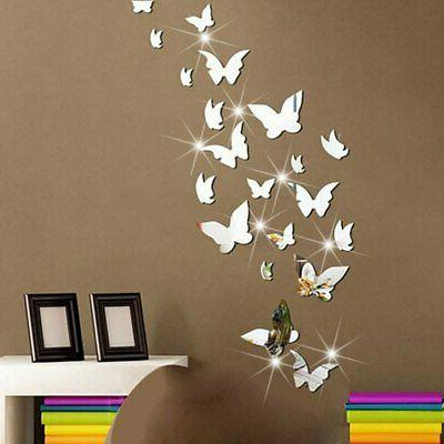 21 pcs removable crystal acrylic mirror butterfly