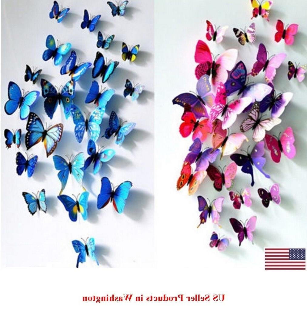 24 pcs 2 sets 3d butterfly wall
