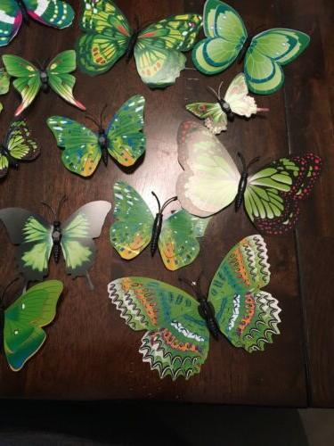 24Pcs 3D Butterfly Stickers Magnetic Room Decor