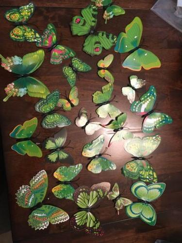 24pcs 2 sets 3d butterfly wall stickers