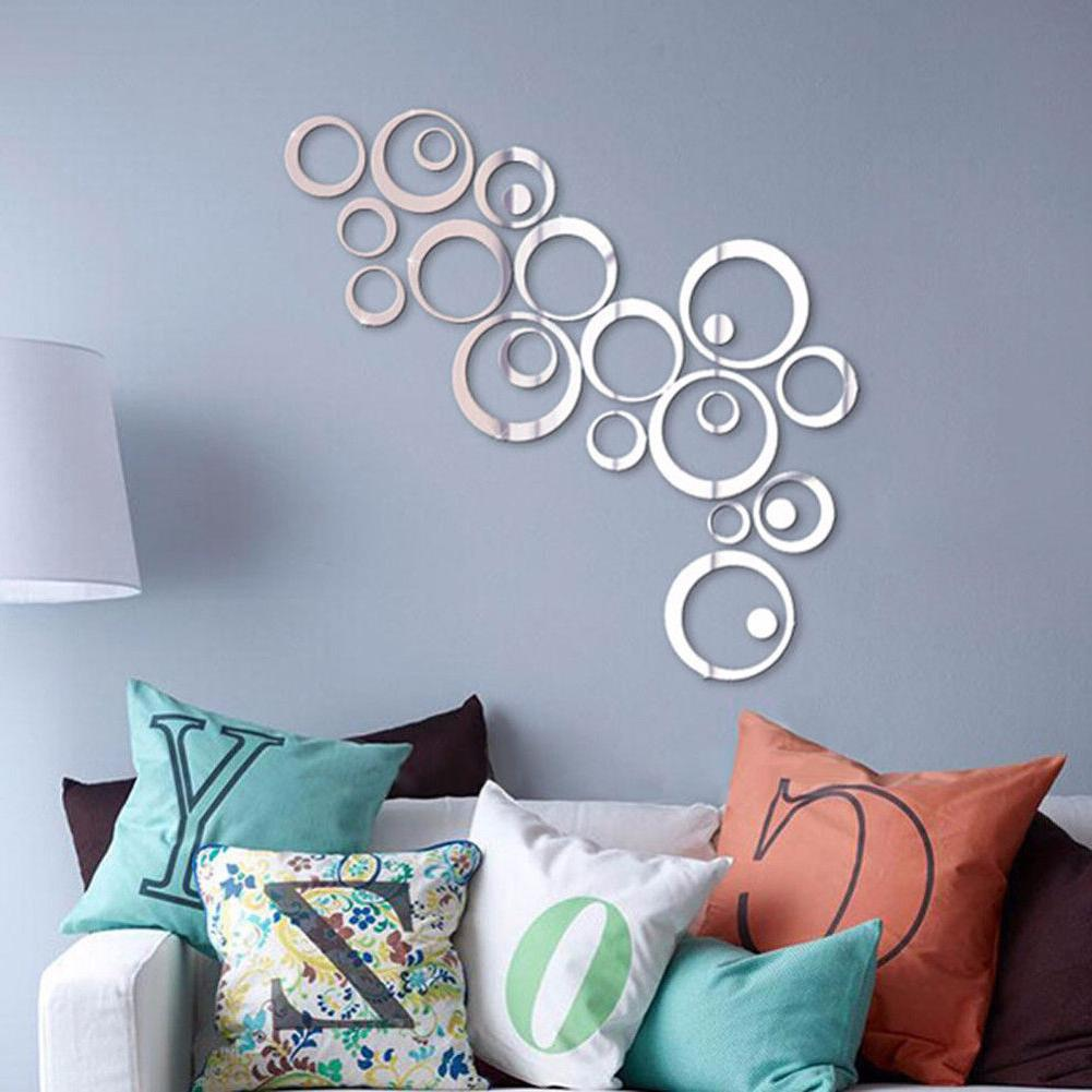 24pcs Circles Mirror Wall DIY Vinyl Removable