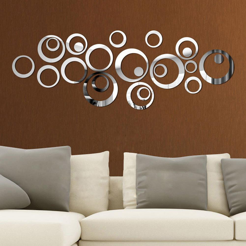 24pcs 3D Circles Mirror Wall Sticker DIY Decal Vinyl Mural H
