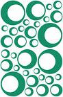 32 TEAL CIRCLE IN CIRCLE BUBBLE LOOK BEDROOM WALL DECAL STIC