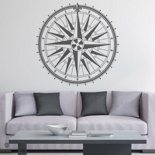 360 Compass Rose Vinyl Wall or Ceiling Decal - fits family r