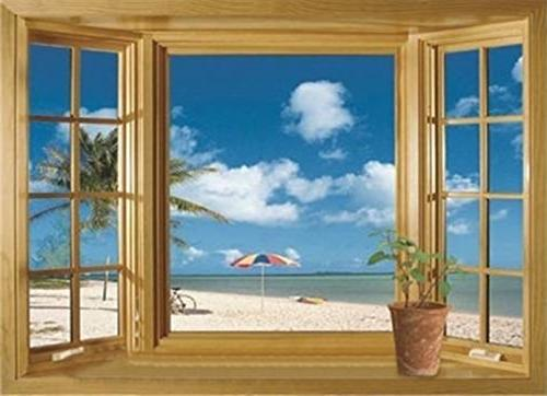 3d beach window view removable