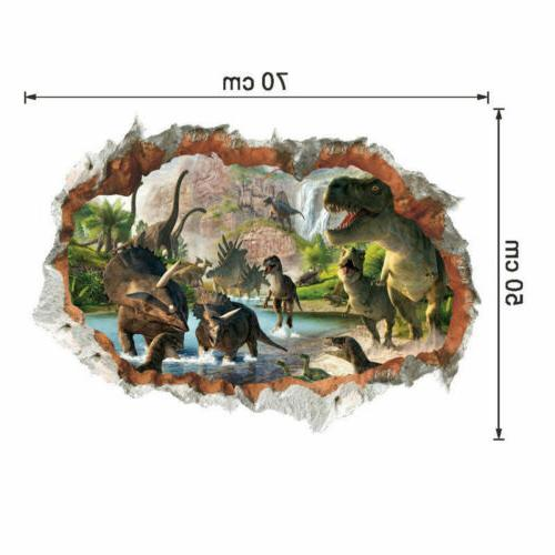 3D Dinosaur Wall Jurassic Animal Sticker Kids Boys Room Decor