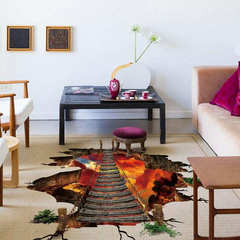 3D Flaming Floor  Wall Stickers Removable Mural Decals Vinyl