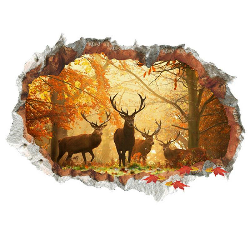 3d forest deer wall stickers removable wall