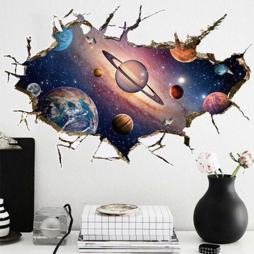 3D Galaxy Planet Space Wall Sticker For Kids Boys Bedroom Ar