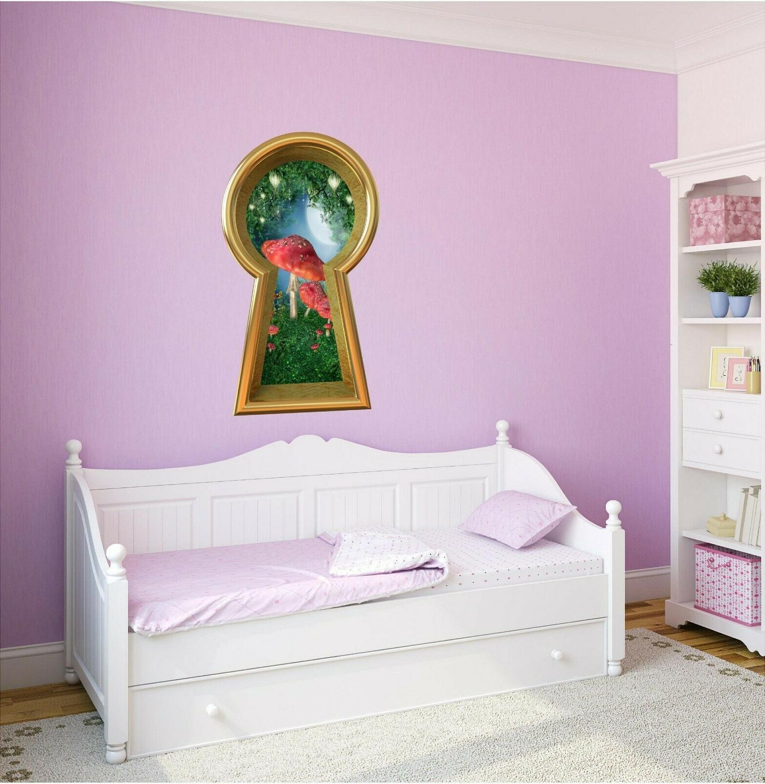 3d keyhole wall decal enchanted lantern forest