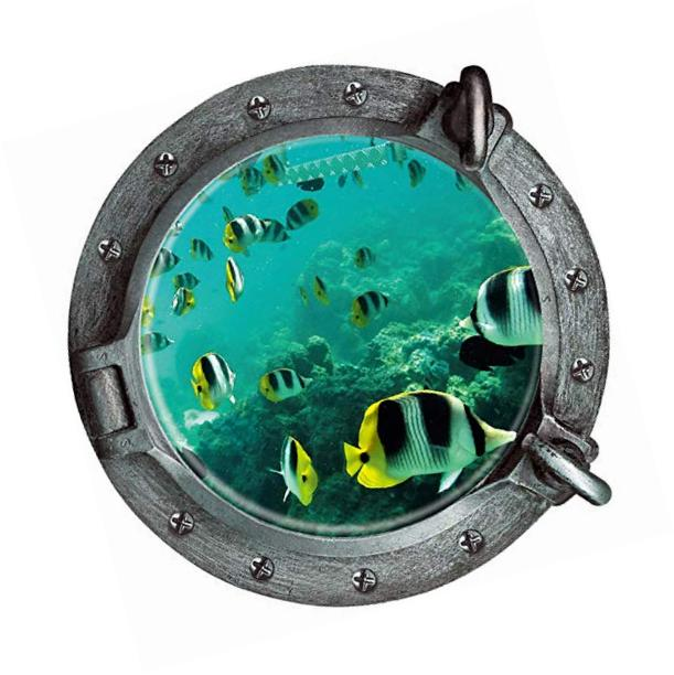 3d porthole view undersea tropical fishes waterproof