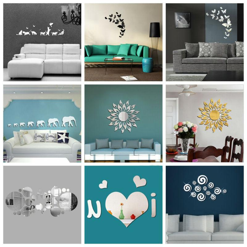 3D Removable Acrylic Decal Art Mural Mirror Wall Stickers DI