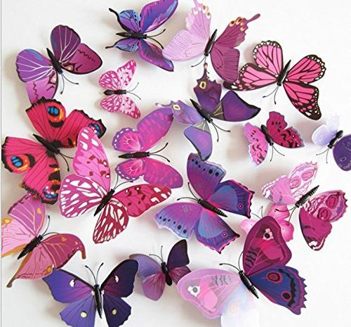 Amaonm 72 Pcs Packages Beautiful Butterfly Wall Home Decorations Art Wall Stickers Murals Background Living Room