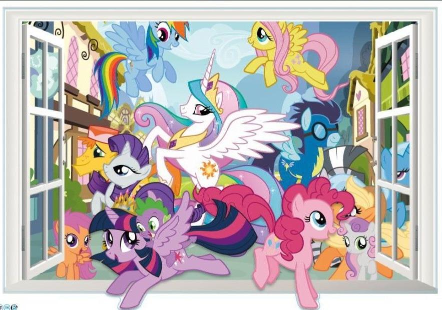 3D Window Shape My Little Pony  Wall Decals Removable sticke