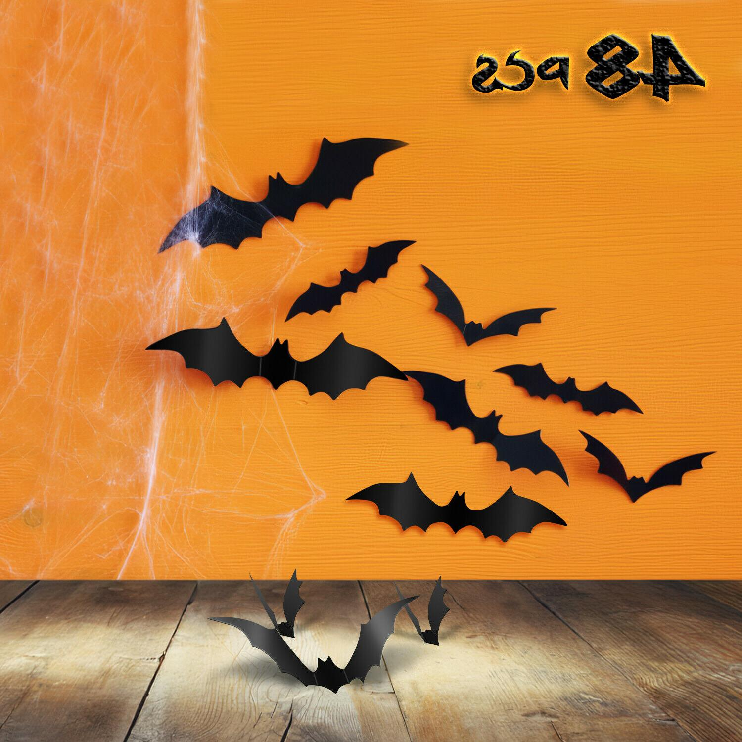 48 pcs Halloween 3D Bat Wall Decals Stickers Scary Spooky Wi