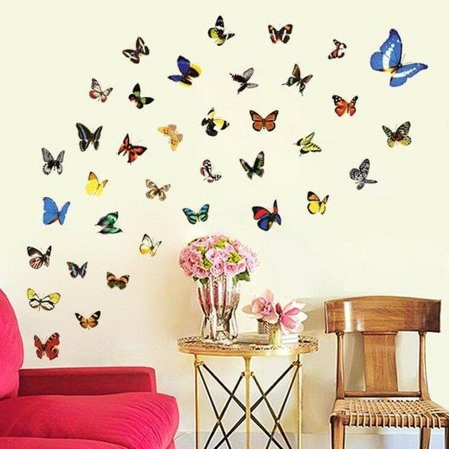 50pcs colorful butterfly wall stickers for home