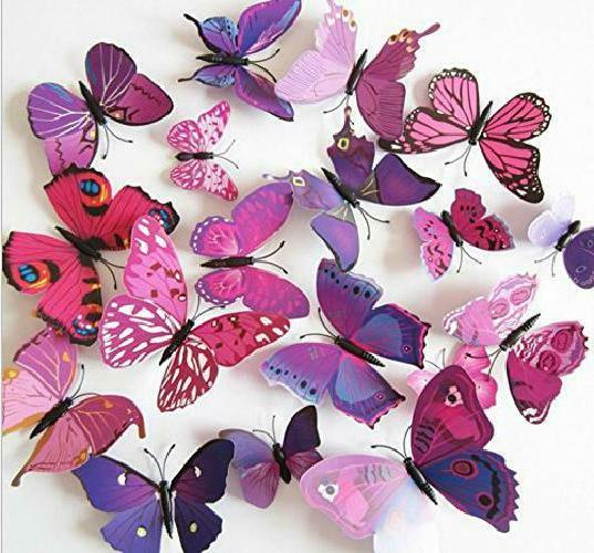 60 pcs 5 packages beautiful 3d butterfly