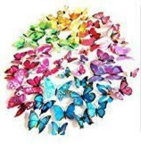 72 pcs 6 packages beautiful 3d butterfly