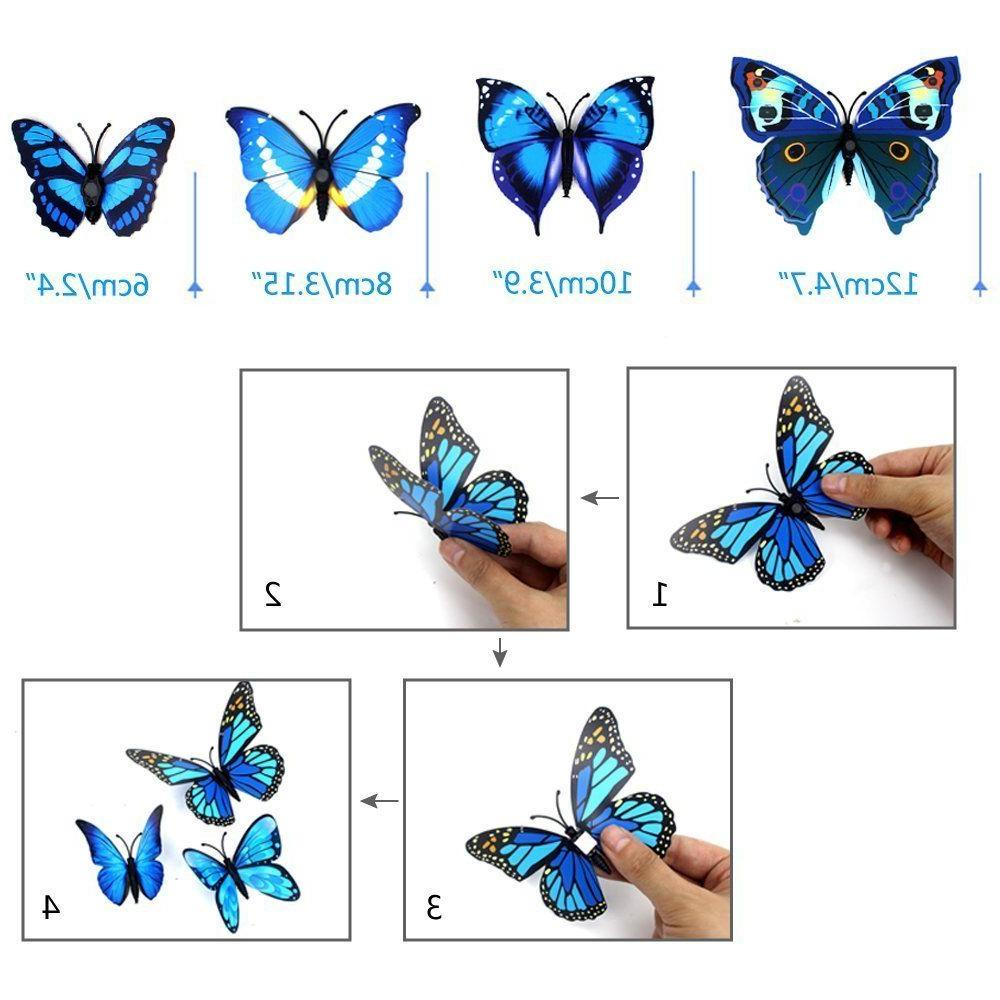 72pcs Butterfly Wall Stickers Home Room Decor Magnetic Removable