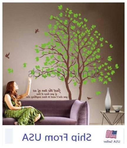 75'' Twin Tree Wall Stickers Removable Green Lover Vinyl Art