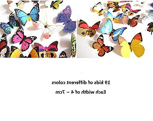 Amaonm® 19 Diy 3d Butterfly Wall Wall Decals Wall Art Decor Decal for Nursery Kids Bedroom Living Room