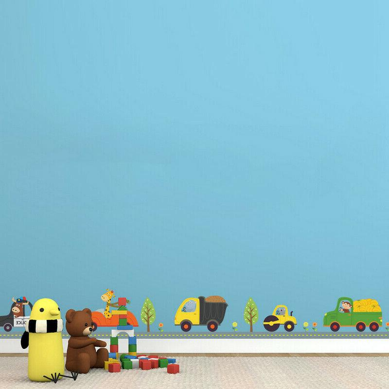 Animal Car Wall Stickers for Boy Bedroom Decor