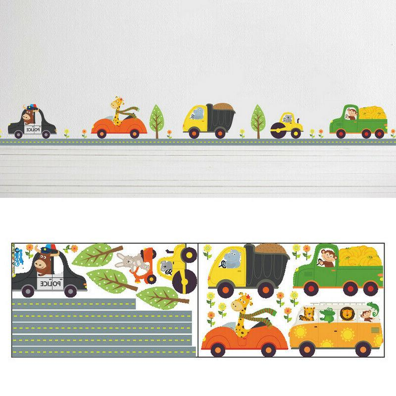 Animal Car Wall Stickers for kids Room  Boy Bedroom Cute Wal