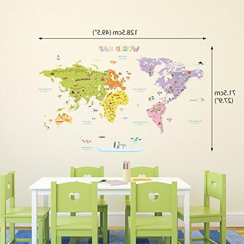 DECOWALL DMT-1306N Colourful World Map Peel and Wall Decal x