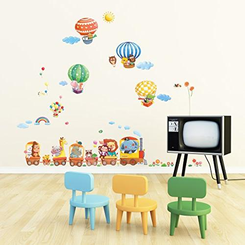 Decowall DA-1406 Train and Kids Decals Wall Stickers Peel Removable Stickers for Room