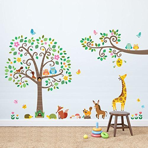 Decowall DM-1502P1512 Large Tree and Branches Animals Wall Stickers Peel Stick Removable Wall for Bedroom Living