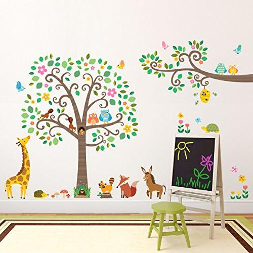 Decowall DM-1502P1512 Scroll Tree and Branches with Animals Kids Wall Decals Wall Stick Removable for Living Room