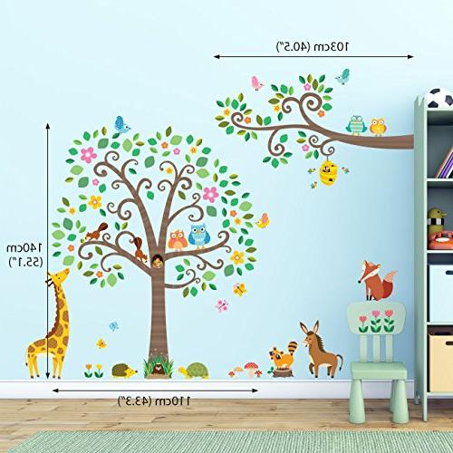 Decowall Large Scroll Tree Animals Wall Decals Wall Stickers Stick Stickers for Living