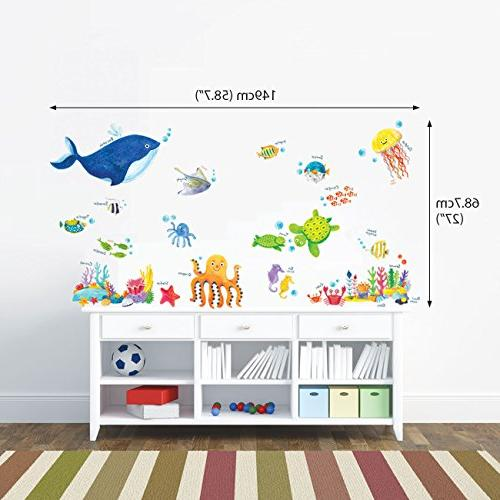Decowall DW-1311 Under Sea Wall Stickers Wall Decals Peel and Stick Removable Stickers for Living