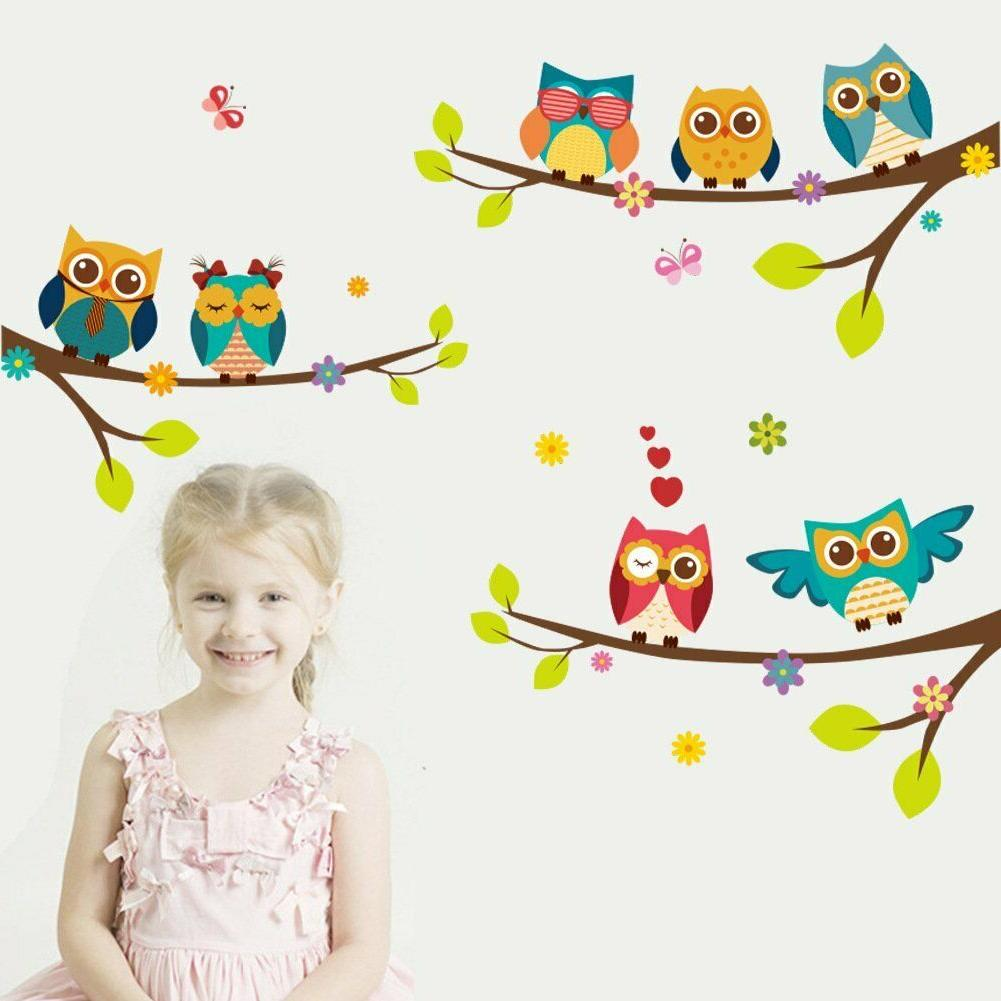 ElecMotive Wall Stickers of Tree Owls Wall Decals for Kids R