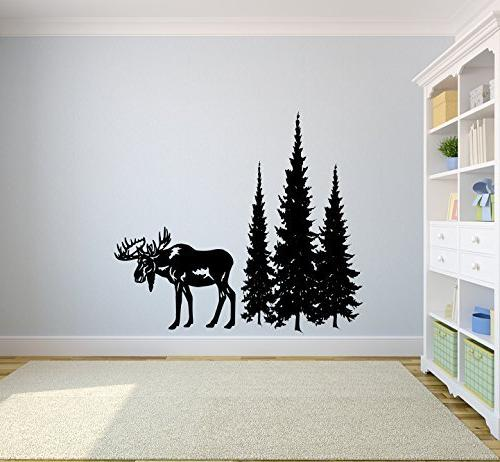 Moose and Pine Evergreen Tree Forest Vinyl Wall Decal Sticke