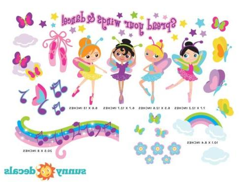 Ballerina Wall Decals with Butterflies, Notes, Rainbow and More
