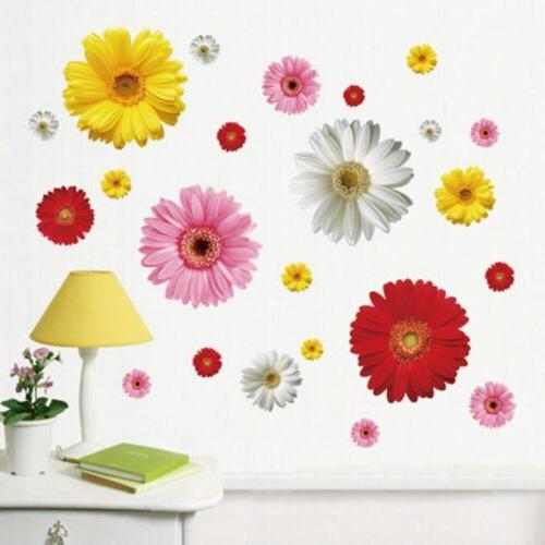 bedroom daisy flower wall decals wall stickers