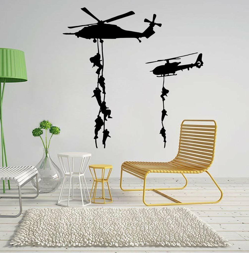 BIBITIME Helicopters Wall Decal Airmobile Soldier Silhouette
