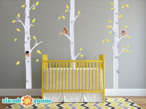 birch tree fabric wall decals with owls