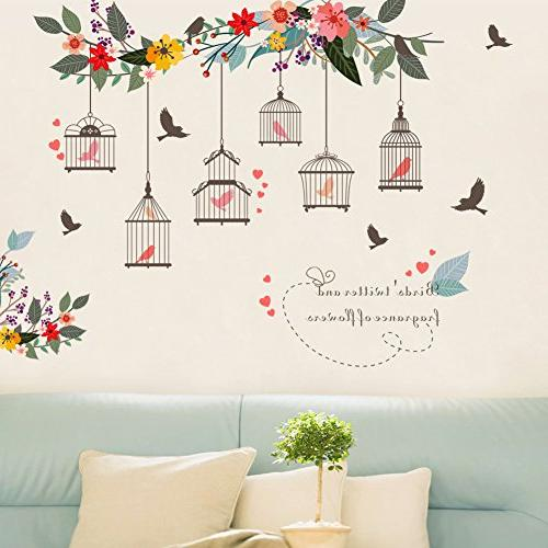 birdcages flowers flying birds wall