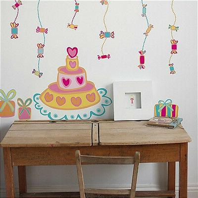 BIRTHDAY CAKE giant wall stickers MURAL 28 decals candy pres