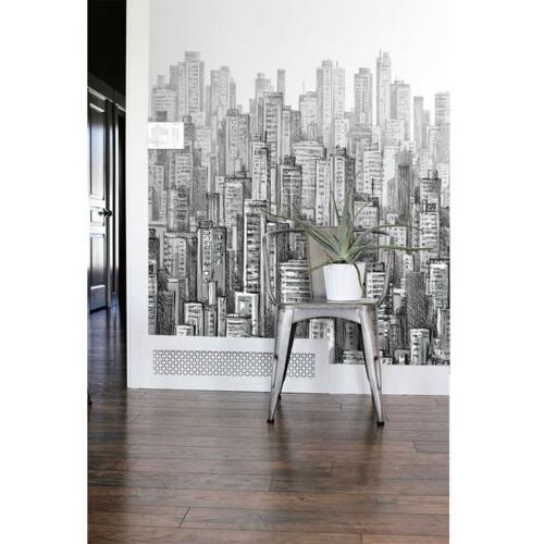 black and white city wallpaper hand drawing