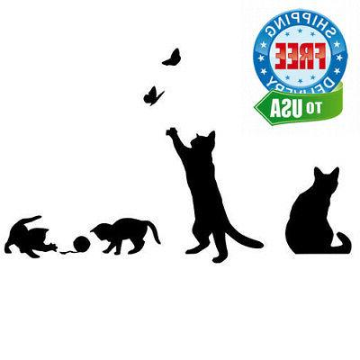 black cats design catching butterfly playing