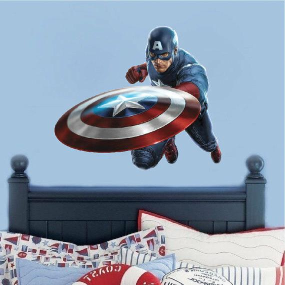 Captain America Wall Decal, Marvel Comic Decals, Avenger