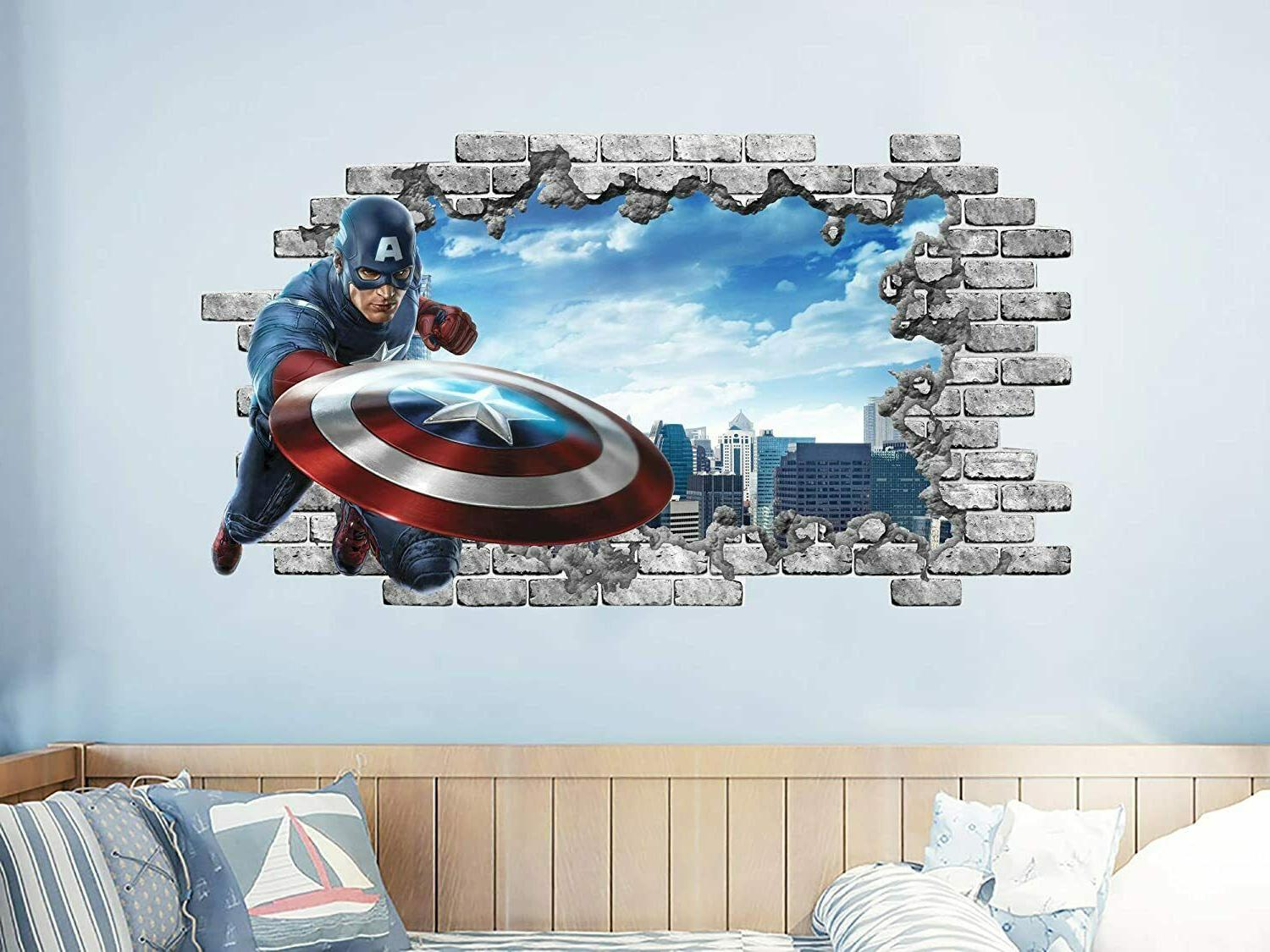 captain america wall sticker 3d window superhero