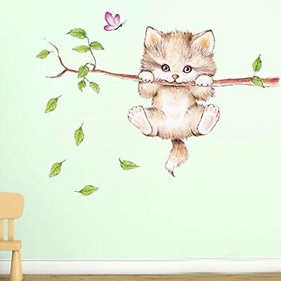 cartoon cute cat on the tree branches