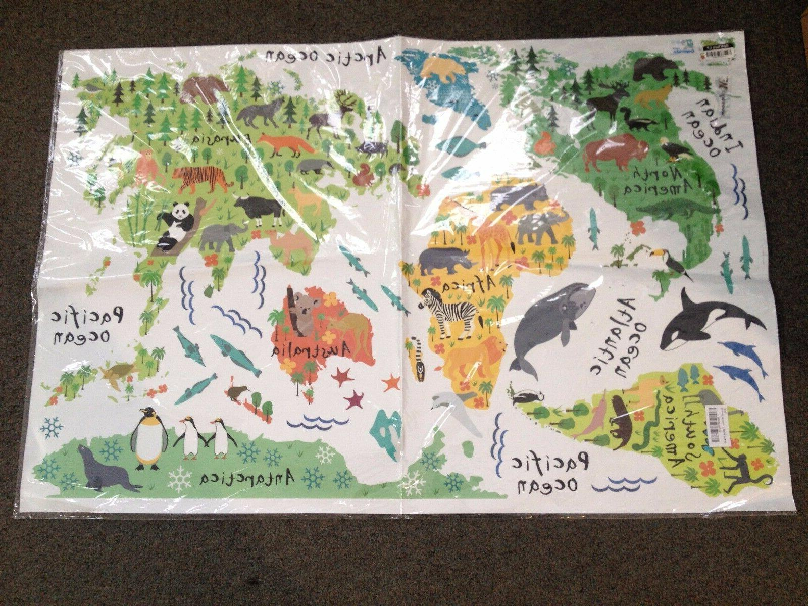cartoon forest animals with world map removable