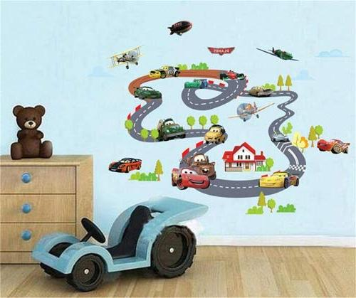 cartoon racing car aircraft wall